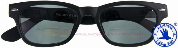 WOODY SUN schwarz Kunststoff-Sonnenbrille +02.50 RktcKAM